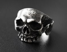 255$ Mens silver ring for real biker! This skull ring look so realistic and will be a great addition to your leather moto jacket. Handcrafted rings are statement so have no doubt, this silver jewelry for men will get you all the attention you can possibly want.