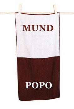 """Die witzige Geschenkidee Handtuch """"Mund und Popo"""" ist für alle gedacht, die für diesen Humor zu haben sind. Das Gadget fürs Badezimmer."""