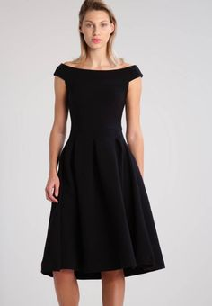 """Cocktail dress / Party dress - black. Outer fabric material:98% cotton, 2% spandex. Fastening:zip. Total length:41.5 """" (Size S). Fabric:Rib. Length:knee-length. Fit:Tailored. Pattern:plain. Neckline:Off-the-shoulder. Washing instructio..."""