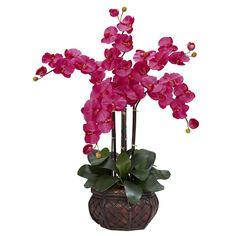 Nearly Natural Phalaenopsis w/Decorative Vase Silk Flower Arrangement, Blue island