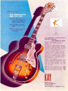1950s KAY BARNEY KESSEL GUITAR AD REPRODUCTION | Musical Instruments & Gear, Vintage Musical Instruments, Vintage Guitars & Basses | eBay!