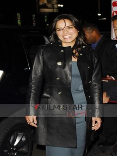 Hollywood superstar eye-catching celebrity Michelle Rodriguez 2015 Film Festival Leather Coat now available at our online Filmstarlook shop, buy this special design real leather material coat, International shipping also free.