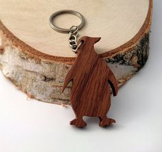 Wooden Penguin Keychain Walnut Wood Animal Keychain by PongiWorks Wood Animal, Green Materials, Cute Penguins, Wood Resin, Scroll Saw, Walnut Wood, Dremel, Key Chains, Woodworking Ideas