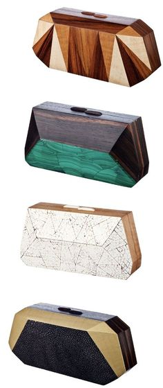 wooden clutches by nada sawaya.