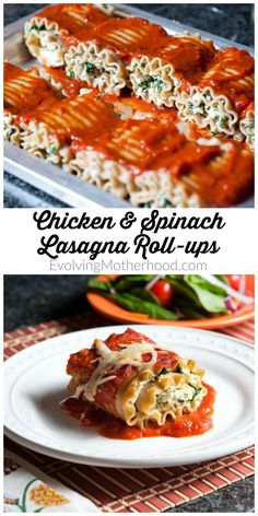 Chicken and spinach lasagna roll-up recipe. This pasta idea will have your whole family happy at the dinner table. // evolvingmotherhood.com
