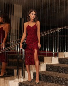 spaghetti burgundy lace prom dress with slit, ankle length lace formal dress Backless Prom Dresses, Lace Evening Dresses, Homecoming Dresses, Sexy Dresses, Strapless Dress Formal, Lace Dress, Fashion Dresses, Summer Dresses, Dress Red