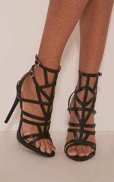 Sami Black PU Cut Out Heeled Sandals