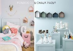 Encuentra inspiración para decorar una habitación infantil con estanterías casita y cuadradas personalizadas con chalk paint.