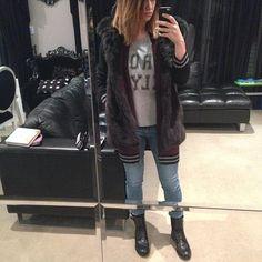 """@designerduchess's photo: """"Got my #designerduchess MONTANA hooded vest on tonight #saintlaurentboots #zoekarssentop #agjeans #stylestalkercardigan #datenight"""""""