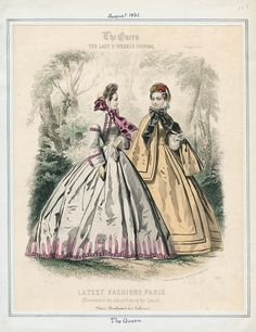 The Queen, August 1864.  LAPL Visual Collections.  Civil War Era Fashion Plate