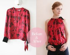 DIY Upcycled Clothing Ideas - Refashion an Old Blouse into a Gorgeous Top - DIY Repurposed Clothes More