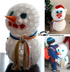 How To Make a Snowman With Plastic Cups