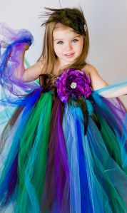 Your Wedding Colors - Peacock....?  would be cute for little girls to wear whenever we finally get married.  I could even make it if I could pattern after others I've seen.  this is so pretty.