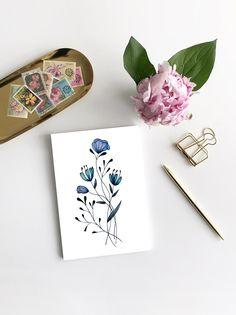 Line Drawing Watercolors Flowers Postcard Mini Picture Bouqets, My Flower, Line Drawing, Watercolor Flowers, Mini, Poster, Greeting Cards, Drawings, Pictures