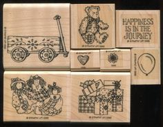 Stampin Up Fancy Wooden WAGON JOURNEY Bear Dolls Flower Saying WM Rubber Stamps #StampinUp