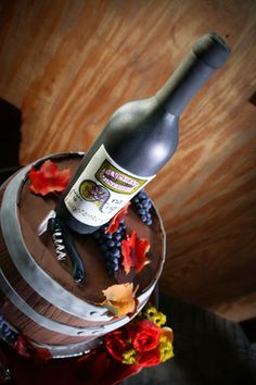 Bluemont Vineyard Wedding Cake made to look like Bluemont Vineyard Wine Bottle