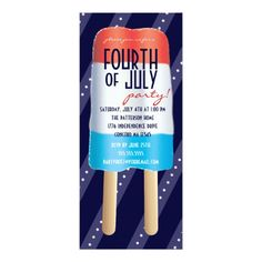Patriotic Bombpop Red White Blue 4th of July Party Card