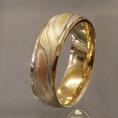 Acid Etched with Yellow Gold Rails, Rose, White, Yellow Gold, Silver Mokume Gane Ring