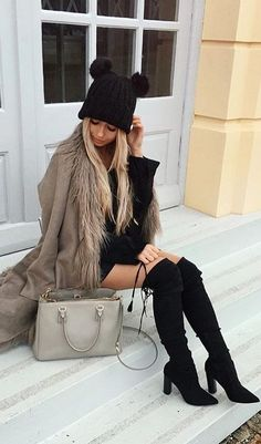 #winter #outfits / Mickey Beanie // Black Over The Knee Boots // Brown Coat // Black Dress