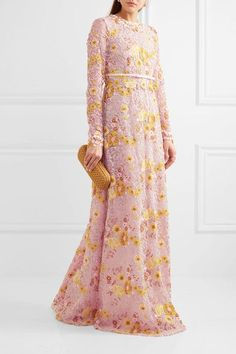 Pink, yellow and gold guipure lace Concealed hook and zip fastening at back 60% cotton, 25% polyamide, 15% polyester; trim1: 100% polyamide; trim2: 100% silk; lining: 100% polyester Dry clean Made in Italy