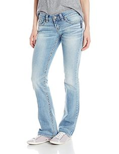 7e7aae0f6dc Silver Jeans Juniors AikoMidBootcut Jean 33 Inch Inseam Indigo 25 * Read  more reviews of the product by visiting the link on the image.