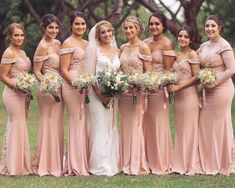 Madrinhas de casamento de rosa - 20 fotos