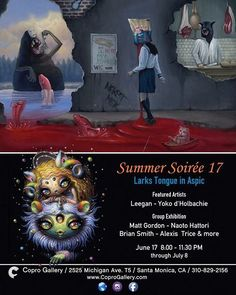 YES! We are really looking forward to @coprogallery's next opening 'Summer Soirée 17 - Larks Tongue in Aspic' which opens on June 17 8:00-11:30pm. Featuring @leegan_art @dholbachie and many others - watch this space for more details!  via BEAUTIFUL BIZARRE MAGAZINE OFFICIAL INSTAGRAM - Celebrity  Fashion  Haute Couture  Advertising  Culture  Beauty  Editorial Photography  Magazine Covers  Supermodels  Runway Models