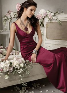 Jim Hjelm Occasions Bridesmaid Dress Style Burgundy satin A-line bridesmaid gown, V- neckline, gathered empire bodice. (tie the knot, gigi of mequon, bliss bridal) Cute Wedding Dress, Fall Wedding Dresses, Colored Wedding Dresses, Formal Wedding, Perfect Wedding, Wedding Events, Wedding Gowns, Dream Wedding, Weddings