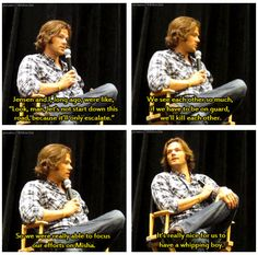 Jared and Jensen agreed not to prank one another because it would end in them killing each other. They focus their efforts on Misha instead. <3 #SupernaturalCast