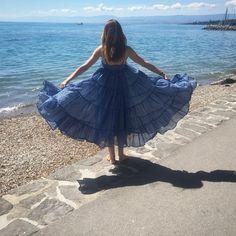 Mes Demoiselles...Paris Eva blue Dress Spring Summer 2016 Robe en voile de coton. Bretelles ajustables. Doublure en coton.
