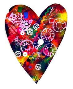 Paint or tissue paper collage heart with white stamped designs