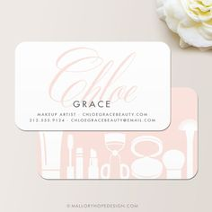 Grace Makeup Artist or Cosmetologist Business Card / Mommy Card / Contact Card by © MalloryHopeDesign.com MalloryHopeDesign.Etsy.com