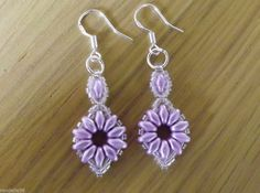 Lilac & Crystal Super Duo Beaded Earrings  with 925 Stamped Hooks