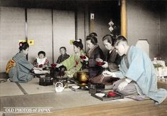 Kobe, 1906. New Year Celebrations. The first meal of the year, includes a soup called zoni, which features mochi, seen being made in New Year Celebrations 2. This image is part of The New Year in Japan, a book published by Kobe-based photographer Kozaburo Tamamura in 1906.