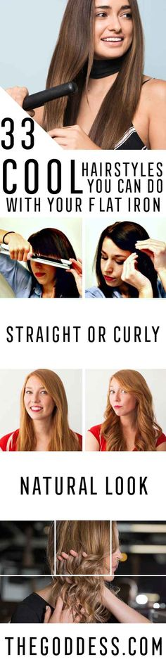Cool Hairstyles You Can Do With Your Flat Iron - Easy Step By Step Tutorials And Hair Tips Every Girl Should Know To Get The Style And Look They Want Using A Flat Iron. Videos and Image How To's That Provide Simple Tips and Tricks For Using A Flat Iron To Get Hairstyles Quickly And Without Lots of Beauty Products - thegoddess.com/...