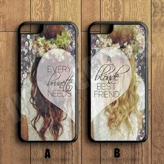 BLONDE BRUNETTE bff Couple Case,Custom Case,iPhone 6+/6/5/5S/5C/4S/4,Samsung Galaxy S6/S5/S4/S3/S2