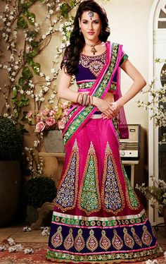 Picture of Glorious Deep Purple and Pink Designer Lehenga Choli