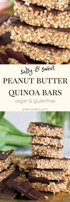 Salty peanut butter quinoa-chia bars with chocolate, (vegan & gluten-free) | www.greenysherry.com Whole Food Recipes, Snack Recipes, Cooking Recipes, Healthy Recipes, Dessert Recipes, Paleo Dessert, Healthy Quinoa Recipes, Quinoa Desserts, Diet Recipes
