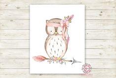 Boho Pink Owl Wall Art Print Woodland Bohemian Floral Nursery Baby Girl Room Arrow Printable Decor