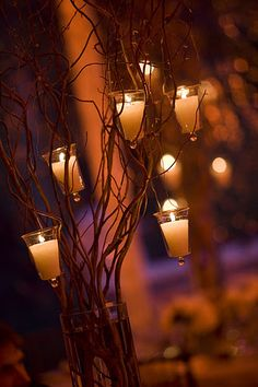 I'm thinking of using red branches with candles at the start of the aisle and possibly down the aisle too.