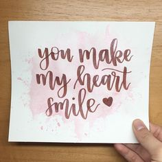 You make my heart smile - Lettering letters Calligraphy Quotes Doodles, Brush Lettering Quotes, Brush Pen Calligraphy, Calligraphy Cards, Hand Lettering Alphabet, How To Write Calligraphy, Watercolor Lettering, Doodle Lettering, Creative Lettering