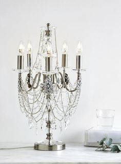Chrome vionnet candelabra table lamp chain beads crystal gun metal clear everly necklace candlebra table lamp aloadofball Image collections