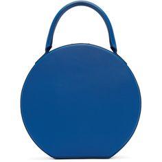 Mansur Gavriel Blue Leather Circle Bag ($1,035) ❤ liked on Polyvore featuring bags, mansur gavriel, zipper bag, structured bag, leather zipper bag and genuine leather bag