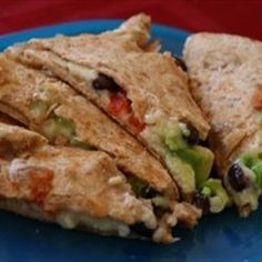 Black Bean, Avocado and Red Pepper Quesadilla — Recipe from Tablespoon