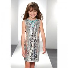 The Truly Fashion by Heidi Klum Silver Glitterati Dress is a sheath dress for ages 3+