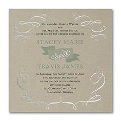 You and your honey...and lots of great style! This kraft paper, banner design wedding invitation with foil accents gets it all with your choice of options.