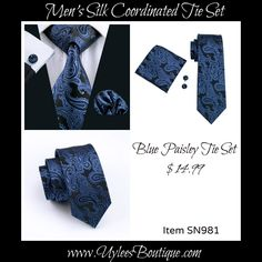 "Coordinating brand new silk tie set. Includes tie, pocket square (handkerchief) and cuff links.      Tie length is 61"" from top to bottom. The width at the largest portion is 3.25"".    Please note, this item requires three (3) weeks to ship. Please take the shipping time into consideration when placing your order. Thank you ~ 