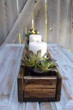 Wooden Trough Centerpiece for an Outdoor Table