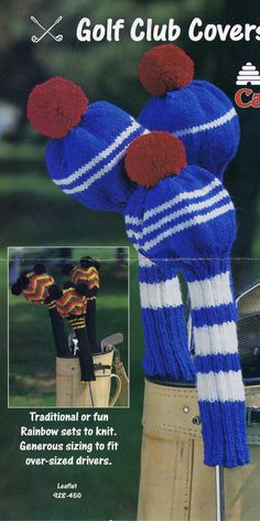 Knitted Golf Club Covers by Patons Canadiana. $1.50, via Etsy.