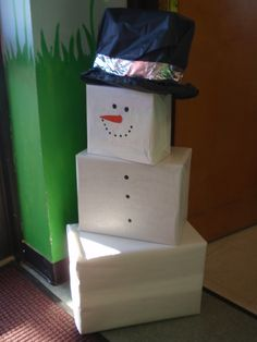 """DIY Snowman Holiday Decor - Made w/ boxes and wrapping paper....  I'm having a """"why haven't I thought of this moment?""""...."""